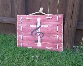 Cross Treble Clef Wooden Sign