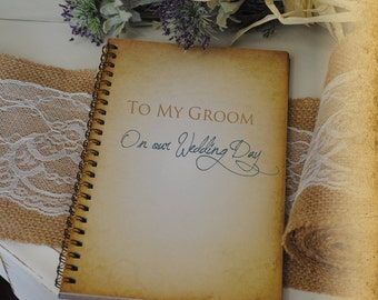 Journal Romance Love - To My Groom On Our Wedding Day Custom Personalized Journals Vintage Style Book