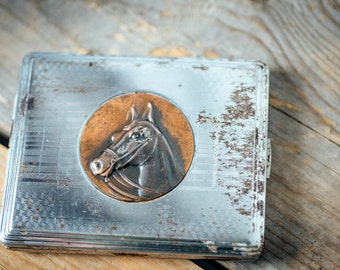 Vintage Horse Cigarette Case with Horses Head - Metal Cigar Tin - Horse Cigarette Case - Steampunk Horse