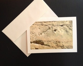 Photo Greeting Card Chaco Canyon Series: Spiral Petroglyph