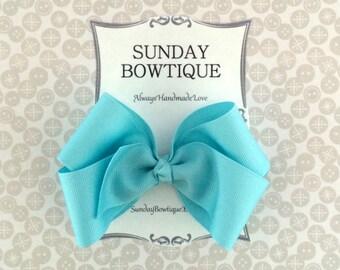 Light Blue Hair Bow, Blue Boutique Bow, Blue Hair Bow, Pastel Hair Bow, Pastel Blue Hair Bow, Easter Hair Bow, Spring Hair Bow, Bow