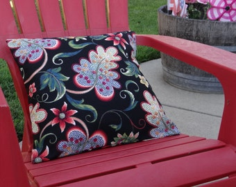 Outdoor Pillow Cover.  Black Floral.