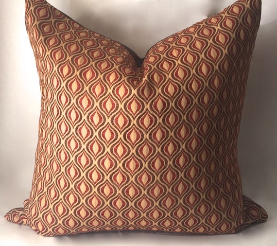 Gold Brown Throw Pillows : Brown Red Gold Throw Pillow Decorative Pillows Red Pillow