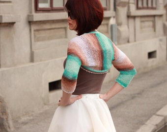Lace wedding bolero, bridal bolero, wedding shrug, knitted wedding bolero, colored lace bolero