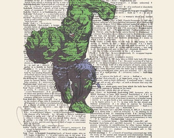 Marvel Comics The Hulk on dictionary page print