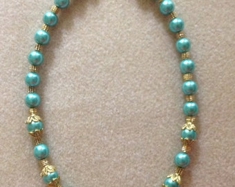 Cerulean Blue pearl necklace