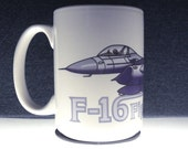 F-16 coffee mug Air Force Fighting Falcon fighter pilot white 12-oz aviation gift