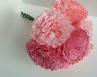 Paper Flower Bouquet-Shades of Pink- Peony Rose-Hand Dyed-Wedding,Bridesmaid Bouquet, Bridal Shower, Baby Shower, Reception Centerpiece