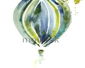 Watercolor Hot Air Balloon Print, Nursery Art, Home Decor