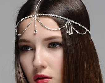Mary Rhinestone Head Chain, Boho Headband, Gatsby Headband, Bohemian Headband, Vintage inspired Headband, Forehead Jeweled Headpiece