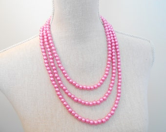Elegant wedding accessories, 3 strand chunky necklace, pink beaded jewelry, bridesmaid, bridal shower gift, magnetic clasps, birthday gift