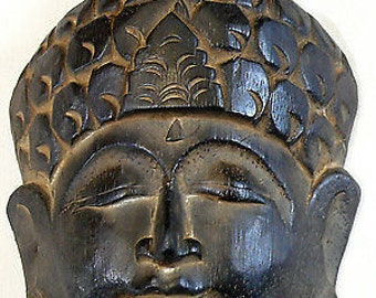 Buddha wood mask 19 cm Wooden Buddha Statue Deco Zen Buddhism