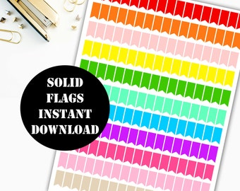 Solid Flags Printable Planner Stickers // Erin Condren Life Planner / Kikki / Plum Paper Planner / Midori Insert / Planner Insert 00005