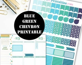 Blue-Green Chevron Printable Planner Stickers // Erin Condren Printable / Plum Paper Planner / Chevron Printable Digital Download 00040