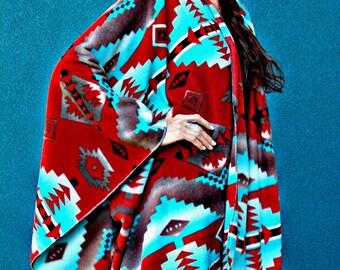 Copper n Turquoise Fleece Ruana (wrap), Poly fleece, Cody Southwestern print, machine washable, easy to wear, one size, soft and warm