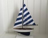 Blue Wooden Model Sailboat - model ship - model boat - wedding centerpiece, Blue Striped Pacific Sailer, sailboat decor, boat decor
