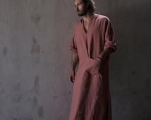 """Men's modern pure linen loungewear. Unique """"brick"""" color tunic / kaftan."""