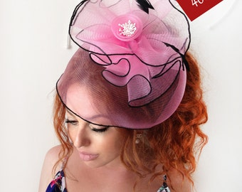 "Pink Fascinator - ""Summer"" Pink Wedding Fascinator Hat, Tea Party Hat - Kentucky Derby Hat - British Hat Fascinator Headband"