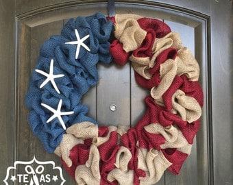 Americana Wreath with Starfish