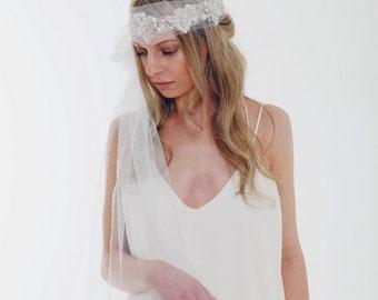 Bridal Veil, Boho Veil, Great Gatsby, Art Deco style, Rhinestones, Antique Silver