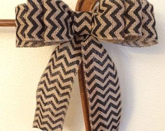Triple burlap bow, black chevron burlap, Ribbon, Bow for wreath, Wreath accent, 6 loop burlap bow, Burlap bow, front door decor