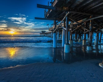"Atlantic Coast Sunrise -  ""Cocoa Pier"" Fine Art Color Photograph  (9.5"" x 13.25"" Print on 14"" x 18"" Archival Board and Mat)"