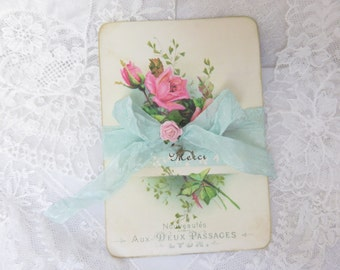 French MERCI cards, Rose Cottage Supply, Pink Roses, 6 note cards, Shabby Vintage, RoseCottageSupply