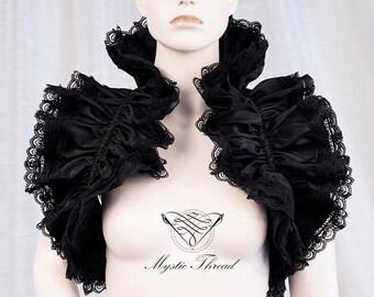 Black shiny taffeta shrug bolero with black lace-gothic bolero-victorian bolero-shrug bolero-ruffle bolero-ruff bolero-black lace bolero