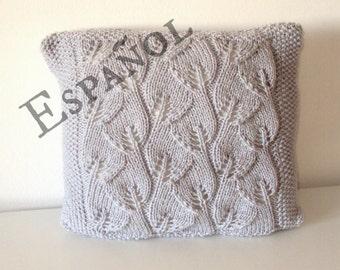 PATRÓN Almohadón hojas tejido, patrón almohadón tejido, patrón funda almohadón tejido, patrón tejido en español, DESCARGA inmediata