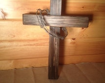 Handmade Wood Cross with barbwire thorn crown