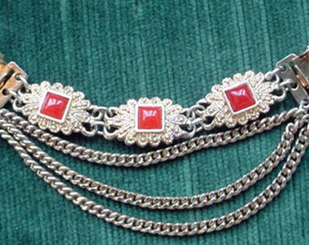 Dress Clasp withThree Chains and Orange Stones