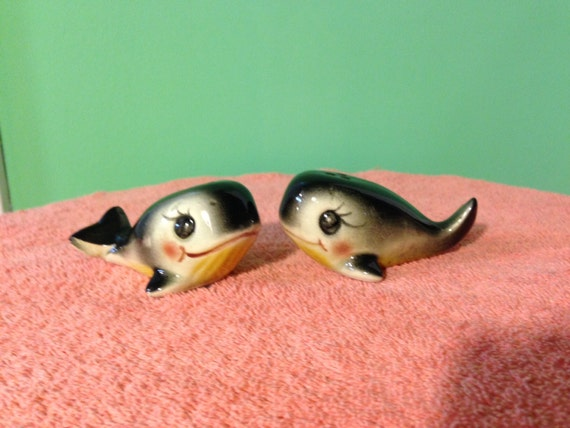 Happy Cute Whales Salt And Pepper Shakers By Vintagesangfroid