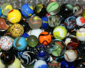 """15 Shooter Marbles 3/4"""" - 1"""" Big Marbles with Swirls Transparent Opaque Toy Marbles"""