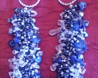 Seed Bead Fluff Necklace-Blue