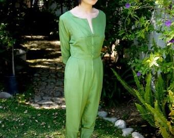 1960s Vintage I. Magnin Green Silk Jumpsuit