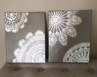 Lace, Doily Art, Wall Art, Set of 2 canvas art