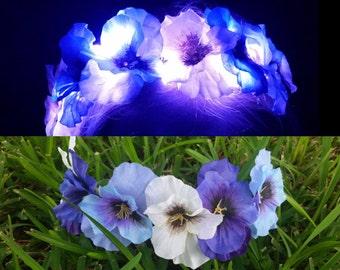 Illuminated Pansy LED Light Up Flower Crown Headband