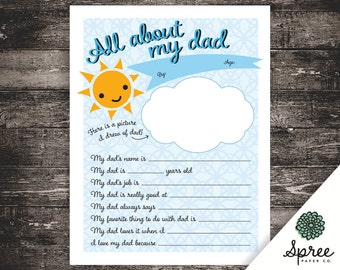 8 x 10 | All About Dad Printable | Father's Day Printable | Kids Printable | Father's Day Gift | Printable Questions | Teacher Printables |