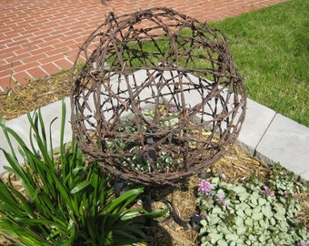 "Vintage Barbed Wire 14"" Garden Sphere aka Country Gazing Ball Outdoor Garden Decor"