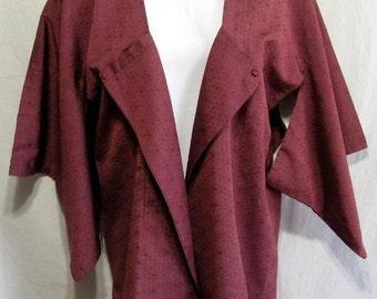 Merry Merlot - Modified Vintage Japanese Women's Japanique Jacket Kimono XL