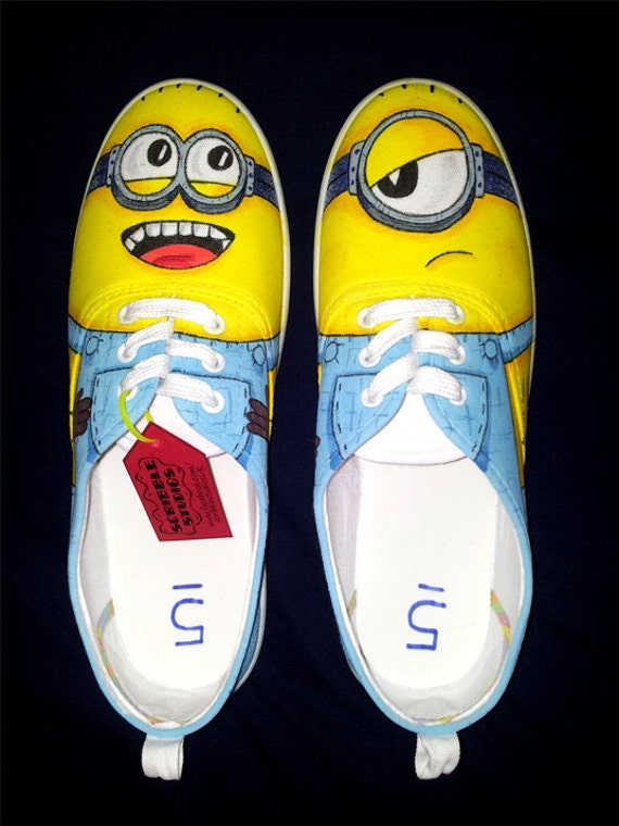 custom made minion canvas sneakers by scribblestudiosshoes