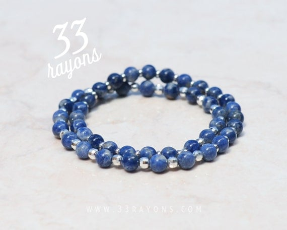 SODALITE MENS bracelet, Double Wrap Around, Sterling Silver bracelet, Blue Bracelet