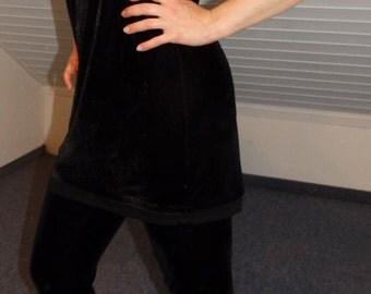 Top velvet black velvet OneShoulder possible velvet shirt