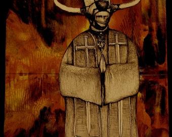 Satan, Devil, Antichrist, Goth Art, Gothic Art, Demon, Demonic, Satanic, Anarchy, Anarchist, Priest, Pope, Hell, Lucifer, Satanic Art, Print