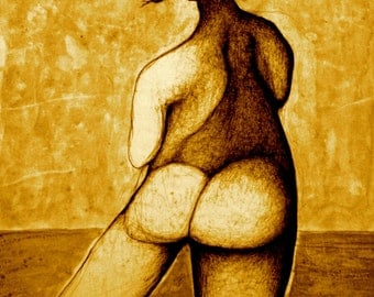 Wall Art Print, Sepia Prints, Drawing & Illustration, Pen and Ink drawing, Wall Art, Fine Art Print, Figure Drawing, Sepia Home Decor
