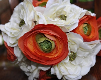 Orange & Champagne Wedding Bouquet Set