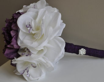Shades of Purple and Ivory Wedding Bouquet Set