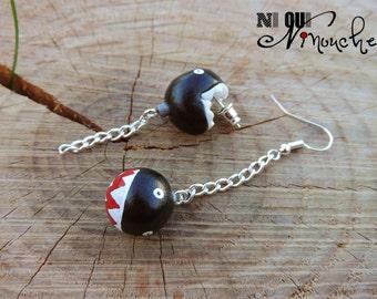 Chomp chomp (fimo) mario geek earrings