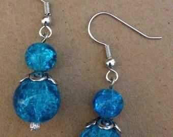 Beaded Dangle Earrings | Blue | Glass | Handmade