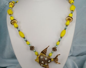 Handmade Necklace With Vintage Brooch and Beads